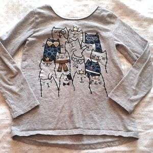 Carter's size 6 cats long-sleeved tee, cross-back